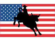 5x3 US United States Flag Bull Rider Cowboy Bumper Sticker Decal Stickers Decals