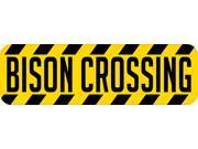 10in x 3in Bison Crossing Bumper Sticker Vinyl Animal Caution Stickers
