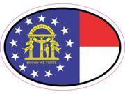 3in x 2in Oval Georgia Flag Sticker Vinyl Flags State Flag Bumper Stickers