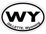 3in x 2in Oval Gillette Wyoming Sticker Vinyl WY Cities Bumper Stickers