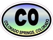 3in x 2in Colorful Oval CO Colorado Springs Sticker Travel Decal Stickers