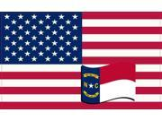 5in x 3in America and North Carolina Flag Sticker Vinyl State Decal Stickers