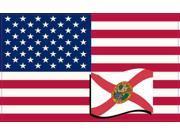 5×3 United States Of America and Florida Flag Sticker Vinyl Patriotic Decal