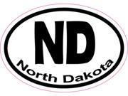 3in x 2in Oval ND North Dakota Sticker Vinyl Window State Bumper Stickers