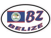 5in x 3in Oval BZ Belize Flag Sticker Vinyl Vehicle Decal Travel Stickers