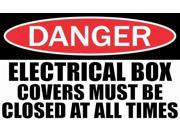 5in x 3in Danger Electrical Box Must Be Closed Sticker Vinyl Sign Decals