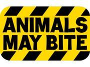 5in × 3in Animals May Bite Sticker Striped Warning Vinyl Caution Decal