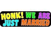 10in x 3in Honk! We Are Just Married Bumper Magnet Wedding Vehicle Magnets