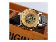 Men's Gold Dial Skeleton Black Leather Mechanical Sport Army Wrist Watch Classic 9SIABV75253680