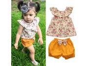 Toddler Kid Baby Girl Summer Clothes Set Floral T Shirt Tops+Shorts 4pcs Outfits