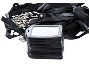 25 50 Pack Lanyards with PU Leather Badge Holder and Plastic Window