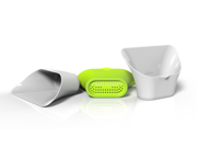 ChopTainer Cutting Board Extension Bins, Set of 3 including 1 Colander
