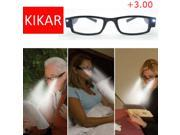 +3.00 Strength LED Reading Glasses Eyeglass Spectacle Diopter Magnifier Light Up  Presbyopia Presbyopic Lighted Magnifying Magnifing Head Lamp  Light Up Diopter