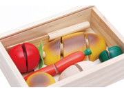 Wooden Food Toy Set, 15 Pieces Pretend Food and Cutting Play Set