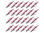 24pcs Red 100 Grain Hunting Fishing Fixed 3-blade Broadheads Archery Arrow Heads Tips thumbnail