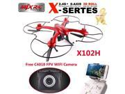 Tomlov MJX X102H X-SERIES 2.4G 4CH 6-Axis Gyro FPV RC Quadcopter Drone with C4018 Wifi 720P HD Aerial Camera Atitude Hold One Key Return Helicopter