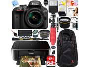 Nikon D3400 24.2 MP DSLR Camera w/ 18-55mm VR Lens + Canon PIXMA Printer Bundle 9SIAC4Z5PW3628