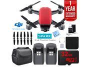 DJI CP.PT.000735 SPARK Intelligent Quadcopter Drone Essentials Bundle (Lava Red)