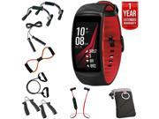 Samsung Gear Fit2 Pro Fitness Smartwatch Red Large +7-in-Fitness Kit+Extended Warranty