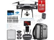 DJI Phantom 4 Pro Quadcopter Drone (Obsidian) with Charging Hub and Custom Backpack