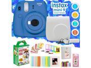 Fujifilm Instax Mini 9 Instant Camera w/ Deco Gear Accessories & Film (Cool Blue)