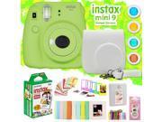 Fujifilm Instax Mini 9 Instant Camera w/ Deco Gear Accessories & Film (Lime Green)
