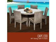 TKC Cape Cod Vintage Stone Outdoor Patio Dining Table with 6 Armless Chairs 60 in.