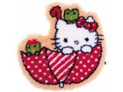 Vervaco V0155205 Shaped Rug Latch Hook Kit 21.25 x 22 in. Hello Kitty in The Umbrella