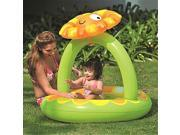 NorthLight 39 in. Inflatable Baby Pool with Adjustable Sunflower Sun Shade