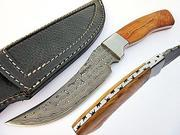 Bravest Fixed Blade Hunting Knife Damascus Steel Blade Olive Wood Handle thumbnail