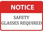 Notice Safety Glasses Required Sign - Large 12 x 18 Commercial Warning Signs - 2 Pack