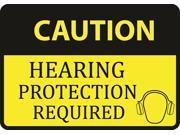Caution Hearing Protection Required Sign Aluminum Metal 6 Pack