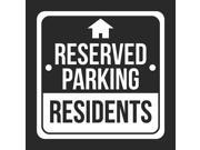 4 Pack Reserved Parking Residents Black Business Home Apartment Parking Lot Commercial Hard Plastic 12x12 Square Sign