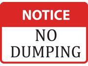 Notice No Dumping Sign - Large 12 x 18 Garbage Warning Signs - Plastic 4 Pack