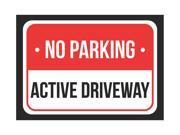 No Parking Active Driveway Print Red, White and Black Notice Parking Plastic 7.5x10.5 Small Sign - 1 Pack of Signs 9SIAC7W5EU5979