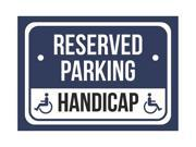 Reserved Parking Handicap Print Blue, White and Black Notice Parking Plastic 7.5x10.5 Small Sign - 2 Pack of Signs