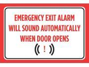Emergency Exit Alarm Will Sound Automatically When Door Opens Red Black Print Notice Horizontal Warning Caution, 12x18