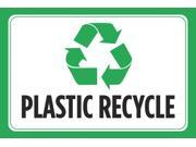 Plastic Recycle Black Print Green Picture Symbol Horizontal Environmental Clean Notice Poster Sign - Aluminum Metal