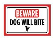 Aluminum Metal Beware Dog Will Bite Print Red White Black Poster Symbol Picture Outside Outdoor Yard Notice Sign