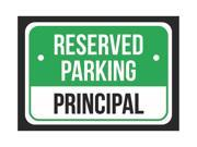 Reserved Parking Principal Print Green, White And Black Notice Parking Metal Small Sign - 6 Pack Of Signs, 7.5x10.5 Inch