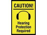 Caution! Hearing Protection Required Sign - Large Ear Plug Noise Safety Signage - Aluminum Metal Single, 12x18