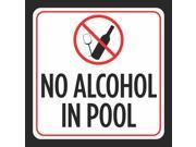 Aluminum No Alcohol In Pool Print Glass Bottle Picture Red White Black Notice Caution Swimming Pools Hot Tub Safe, 12x12