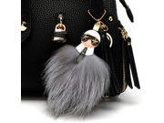 Fluffy KARLITO Karl Genuine Raccoon Fur Pompom Monster Bag Bugs Charm Keychain Plush Key Ring Leather Tassel Pompom Key chain 9SIAAWS5C55381
