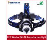 LED Headlight CREE T6 led headlamp zoom 18650 Head lights head lamp 2000lm XML-T6  zoomable lampe frontale LED BIKE light 9SIAC855FZ2873