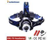 LED Headlight CREE T6 led headlamp zoom 18650 Head lights head lamp 2000lm XML-T6  zoomable lampe frontale LED BIKE light 9SIAC855FZ2042
