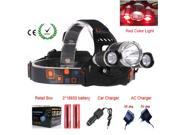 RED Color light  RJ-3000 Bike Light 5000LM C-XM-L 3x T6 LED Headlight Headlamp Head Lamp Light Flashlight 9SIAC855FZ2854