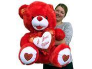 Big Red Teddy Bear 30 Inch Soft Huge Stuffed Animal, Holds I LOVE YOU Heart Pillow 9SIAC9853W6659