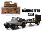"Michonne's Jeep Wrangler YJ & Utility Trailer """"The Walking Dead"""" TV Series Hitch&Tow Series 8 1/64 Diecast by Greenlight"" 9SIAC9B54F4026"
