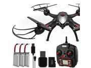 Dynamic Aerial Systems X4 Sentinel 2.4GHz 4CH 6-Axis Gyro RC Quadcopter Drone with 2MP Camera, 4GB Memory Card and 3 Batteries