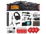TASCAM 4-Channel Portable Linear PCM Audio Recorder for DSLR and Video Cameras, Condenser Microphone, Mixing Headphones, 32GB Micro SD Card, 3 pcs Cleaning Clot 9SIACAY7651819